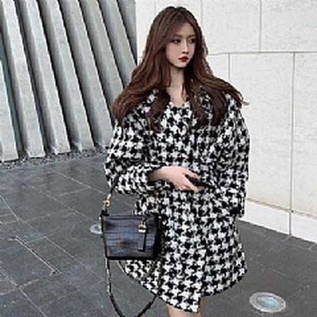 SG7266韓版優質 小香風系帶編織毛呢外套