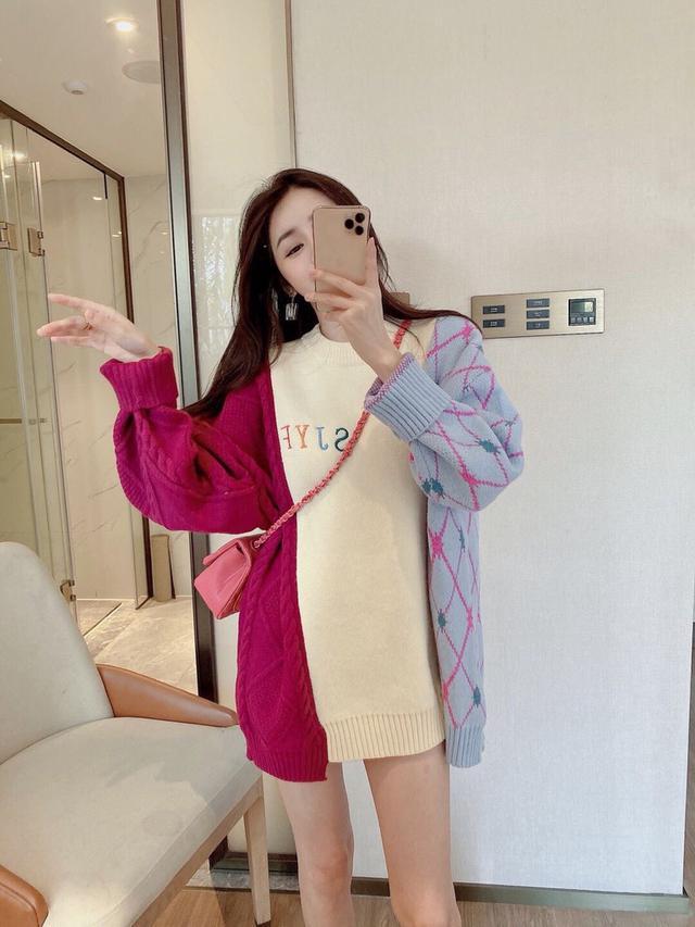 秋冬新款韩版宽松拼色字母大版中长款毛衣裙