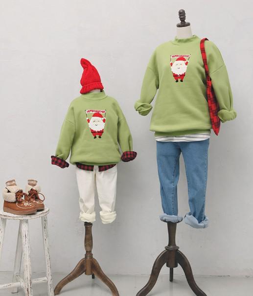 11 聖誕時髦綠抓絨衛衣 親子裝 0364