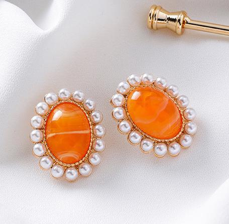 簡約橢圓寶石珍珠幾何橙色耳環