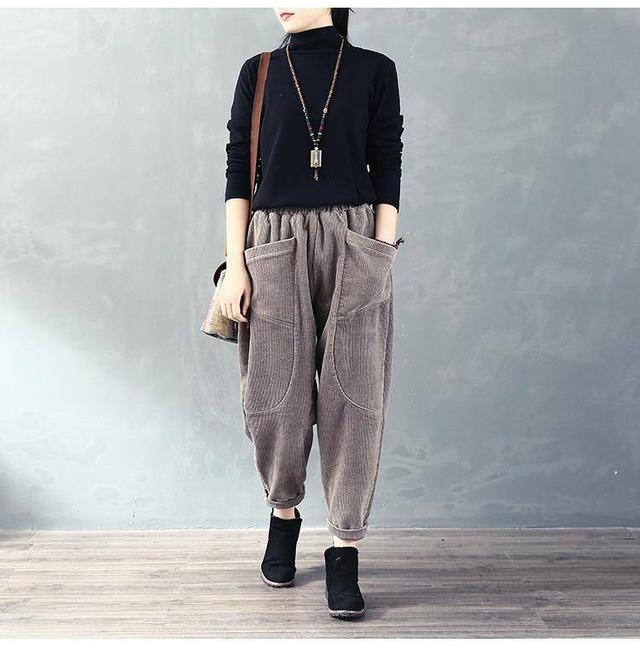 11 流行款 M-2XL 韓版 燈芯絨復古口袋哈倫褲(3色)