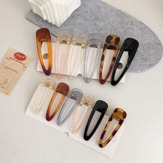 (預購S) H025 - 韓國琥珀色碎髮邊夾鴨嘴夾(一組6支)