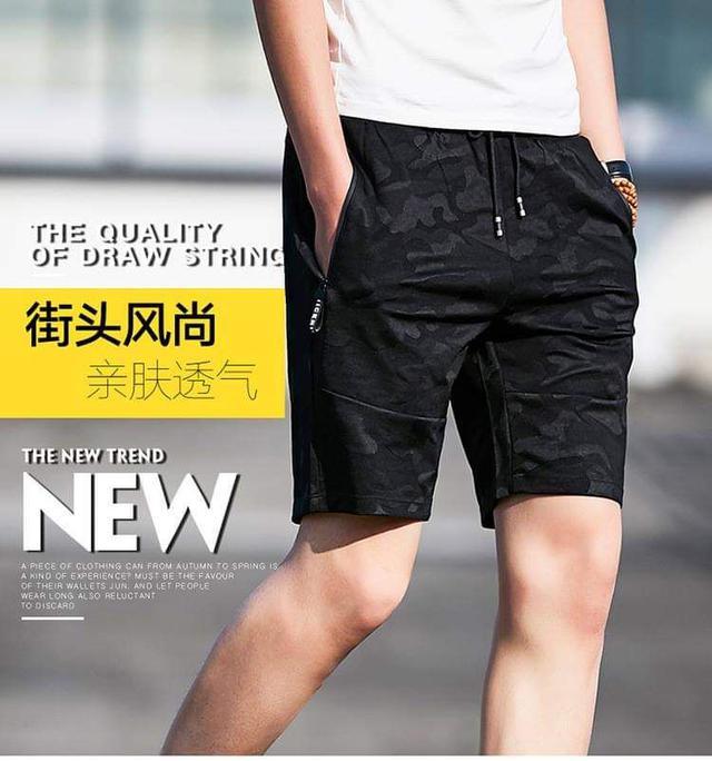 韓版迷彩紋休閒5分褲