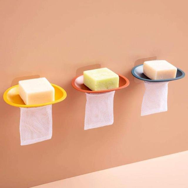 (預購S) 無痕貼免釘帶起泡網肥皂盒(一組3個)
