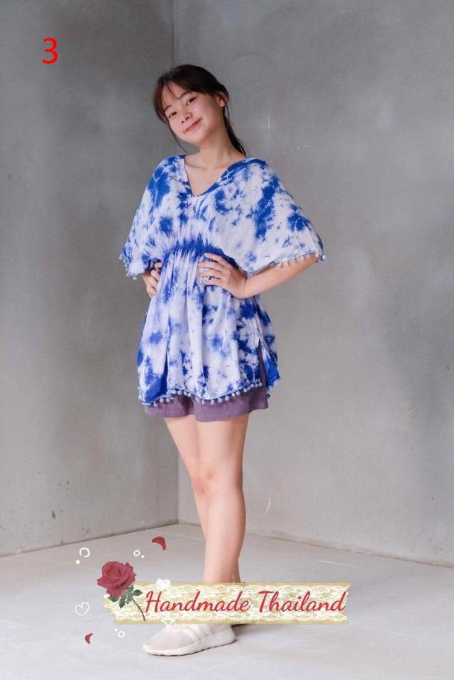 清邁文創市集-手工藍染襯衫-藍天白雲系列
