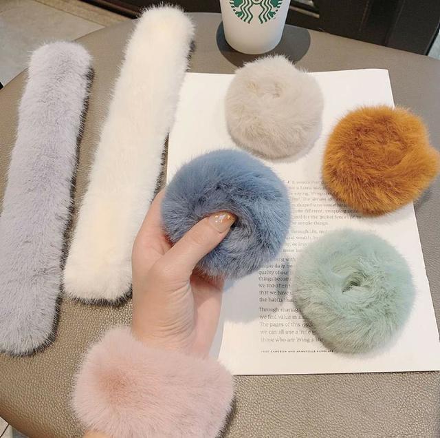 (預購s+) 韓國仿兔毛拍拍手髮圈(一組3入)