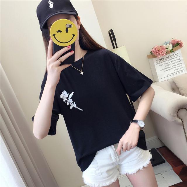 【預購】韓版百搭刺繡上衣