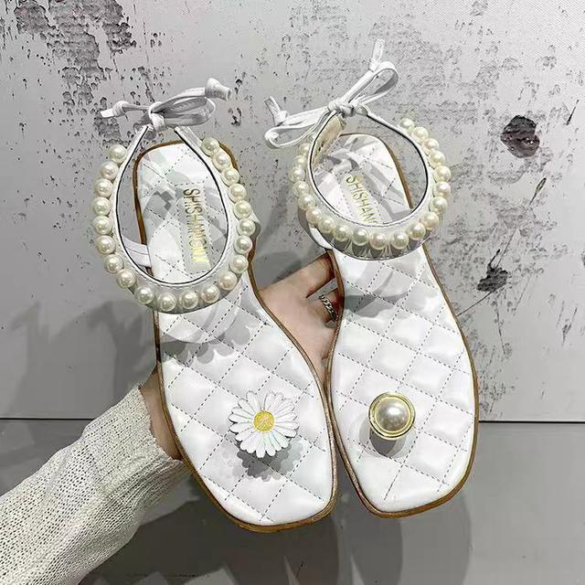 小雛菊珍珠羅馬鞋