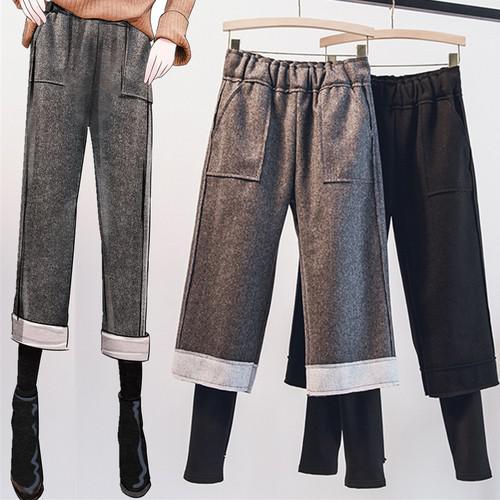 11 L-4XL 大碼 加絨假兩件加厚毛呢七分褲(2色)