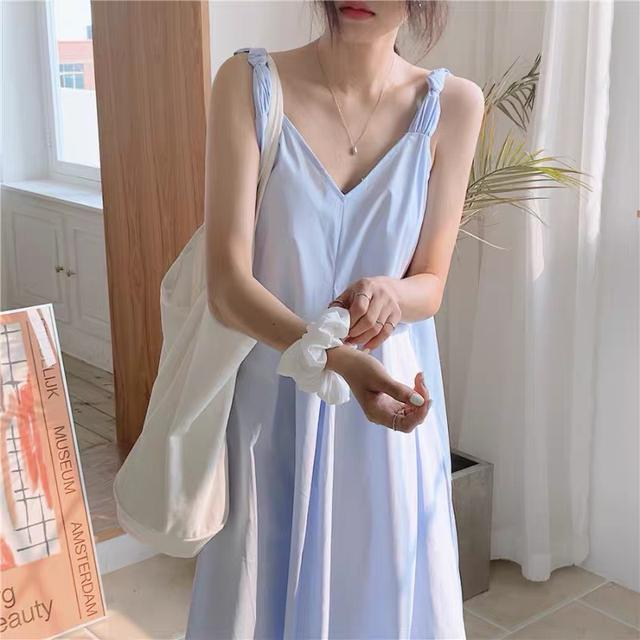 A001 海邊渡假風V領吊帶裙(三色)