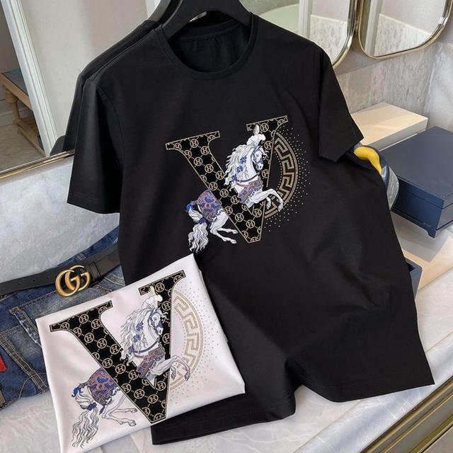 純棉短袖T恤男燙鑽V字母H馬歐洲站輕奢2021新款潮牌上衣薄款半袖