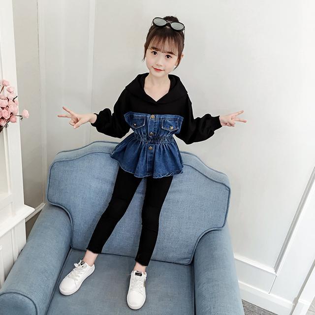 童裝女童秋裝套裝牛仔拼接兒童套裝女小女孩秋裝秋季100-160碼