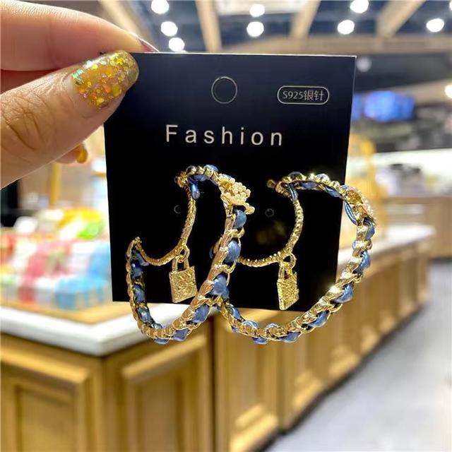 s925銀針耳釘防過敏小香風珍珠耳飾女網紅CC耳環