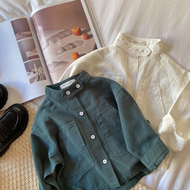 童裝|文藝感的純色立領襯衫 DUOLA003
