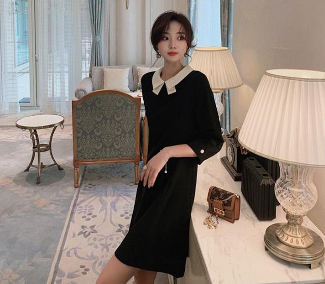 A 12/4 S-L 小香風法式七分袖娃娃領連衣裙