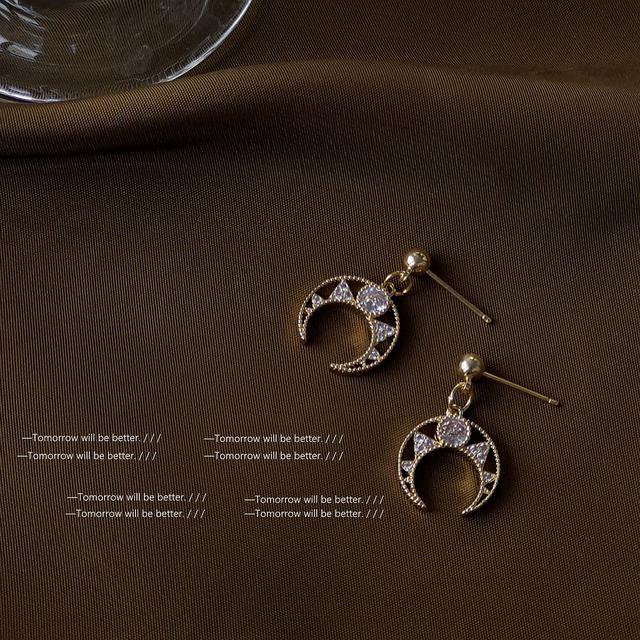925銀針鍍14K高級感鋯石月亮耳環女簡約網紅時尚氣質耳釘耳飾