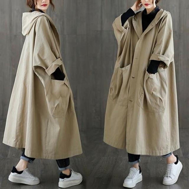 韓版超寬鬆長版風衣外套  ( L~5XL適穿 )