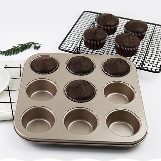 9連馬芬蛋糕模 杯子蛋糕模具 麵包蛋糕 九連不沾烤盤 烘焙模具 DIY模具