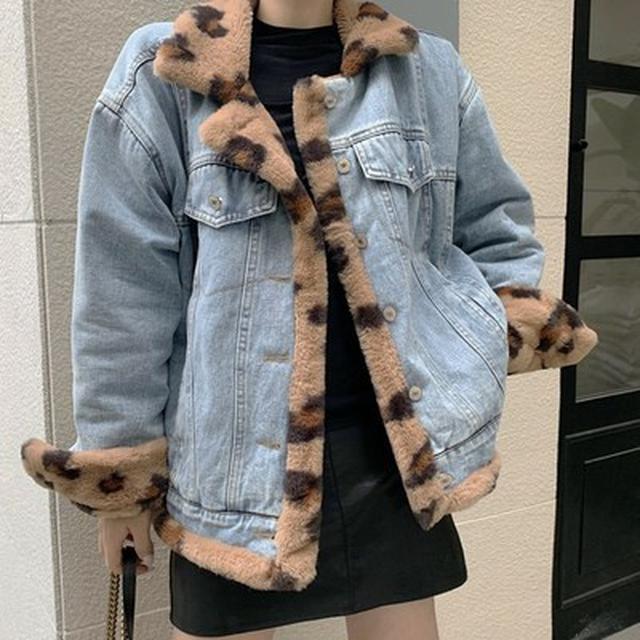 SE5998專櫃優質 爆款酷帥豹紋仿兔毛兩面穿牛仔外套