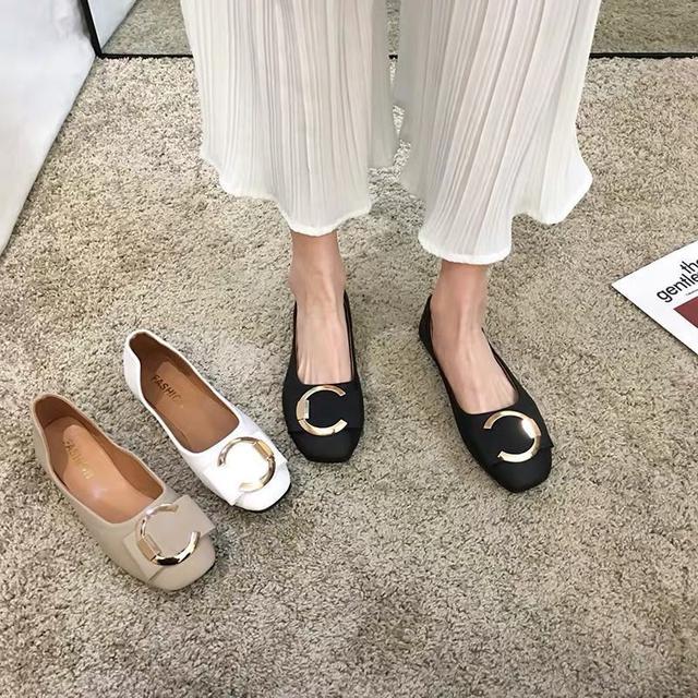 (預購)平底單鞋女2020春季新款韓版百搭網红ins时尚方頭休閒淺口工作鞋