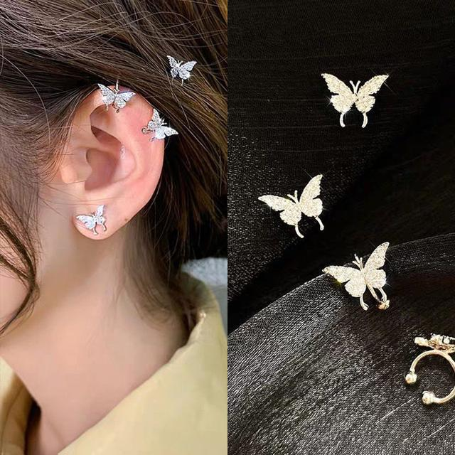 S925 小蝴蝶耳釘/無耳洞夾式