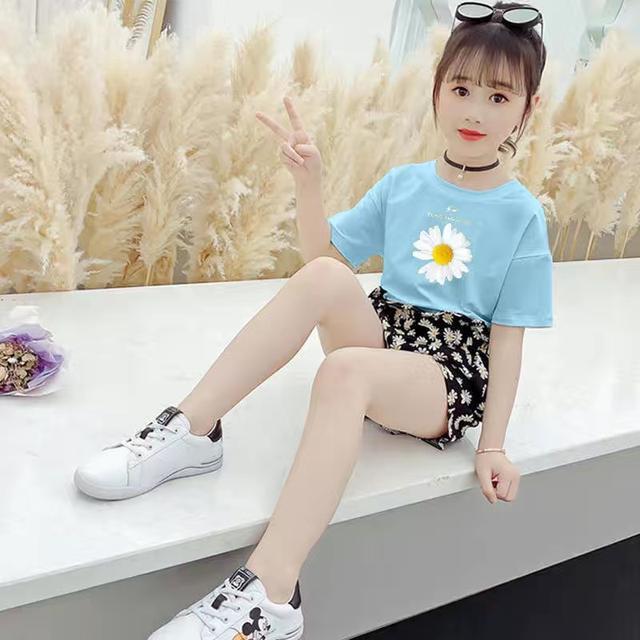 100%純棉兒童套裝女夏裝2020新款中大童女孩小雛菊