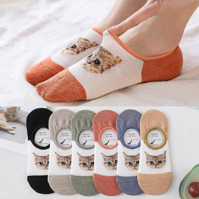 (預購S) B026 - 韓國貓咪網眼防滑隱形襪(一組5雙)