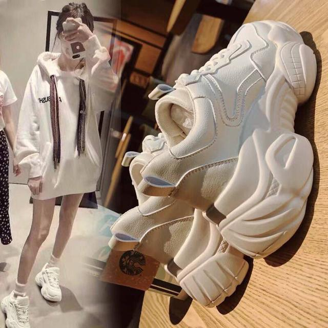 ins老爹鞋皮款加絨小白鞋2020秋冬新款鞋子女學生韓版百搭運動鞋