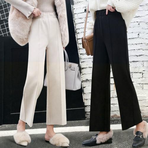 11 流行款 M-2XL 韓版 鬆緊高腰毛呢闊腿褲 直筒九分褲(3色)