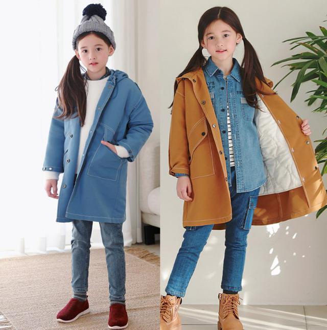 11 7-21 童裝 風衣式棉衣馬甲兩件套外套 親子裝(2色)3545