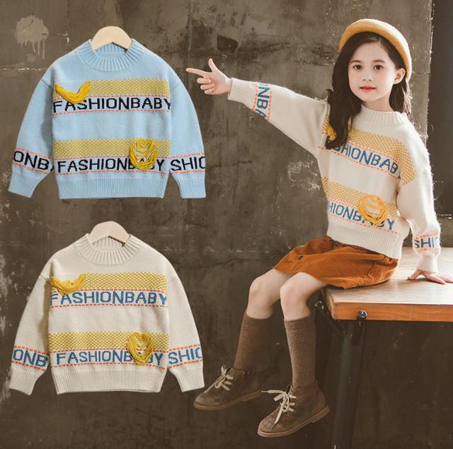 11 110-160 韓國童裝水貂絨破線字母毛衣(2色) 30291