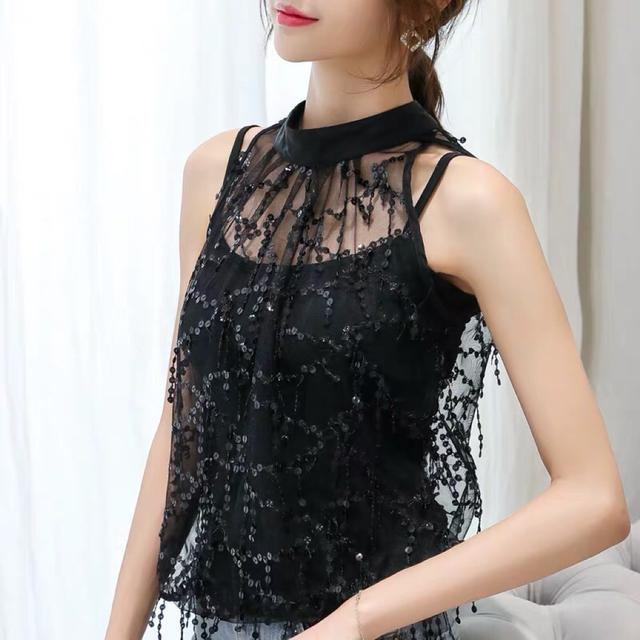 蕾丝打底衫女夏季韩版洋气立领网纱无袖衬衫超仙亮片流苏背心上衣
