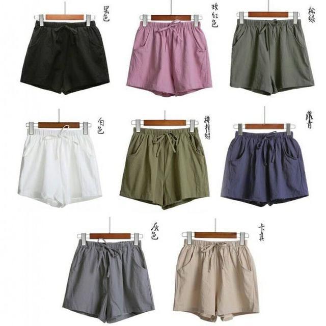 日系寬鬆顯瘦棉麻鬆緊休閒短褲(一組兩件)