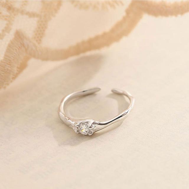 純銀龍骨鋯石戒指女小眾設計感簡約輕奢個性食指戒開口可調節