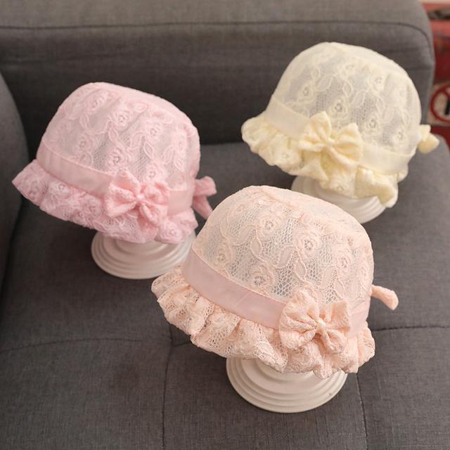 (預購)夏季薄款女寶寶蕾絲渔夫帽