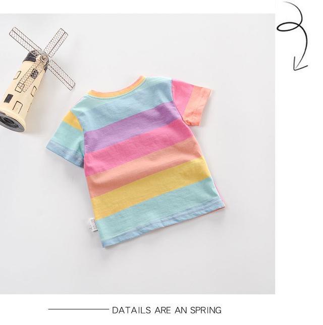 童童家親子裝母女裝夏季新款兒童女童彩虹短袖媽媽親子裝t恤
