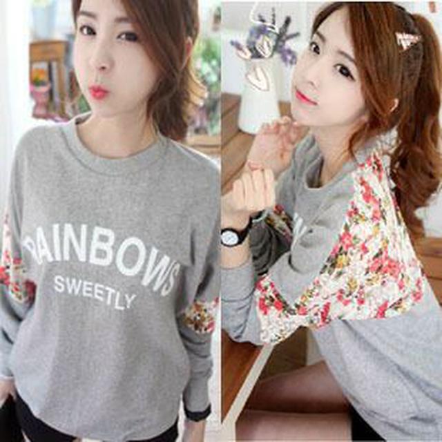 6930韓版寬鬆蕾絲拼接3D花朵圓領休閒女式T恤