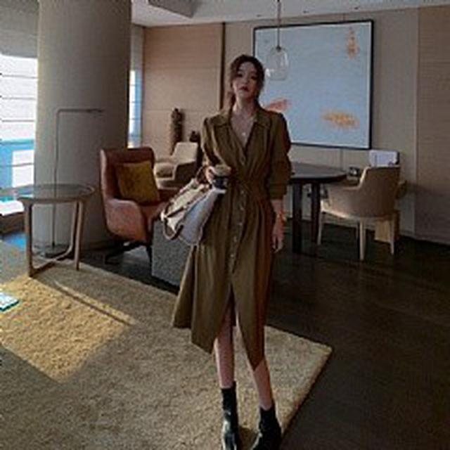 S✿優質歐韓女裝SB8636韓國時尚氣質v領排扣收腰連衣裙 (2色)