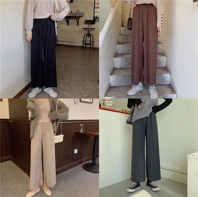 B 12/11 坑條紋針織闊腿休閒褲(4色)