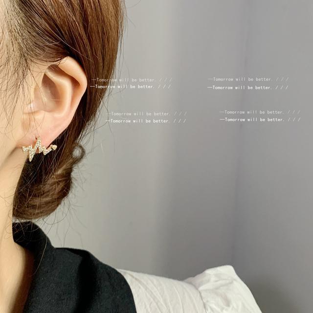 微鑲鋯石心電圖925銀針鍍14K簡約日韓IG風耳釘 創意個性耳飾耳環