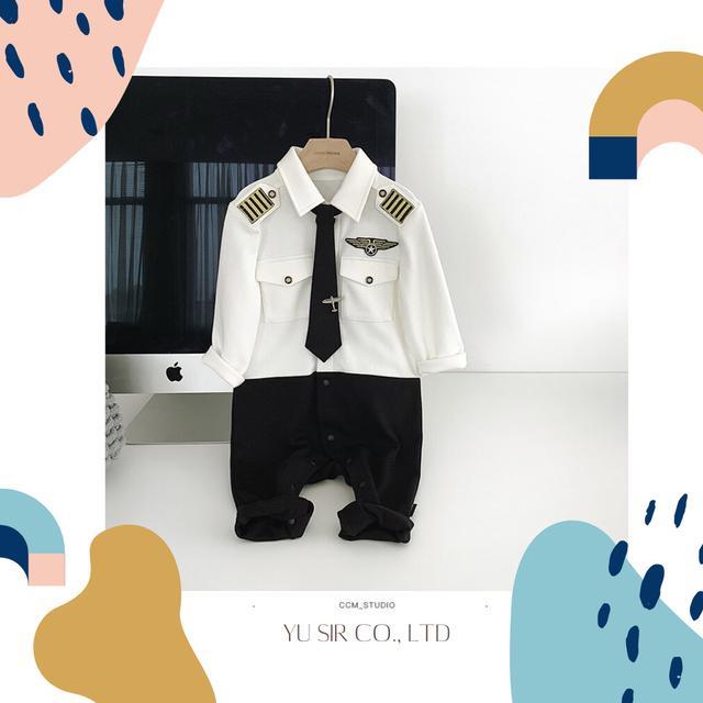 男寶寶假兩件西裝連體包屁衣 週歲禮服 帥氣西裝禮服 連身禮服