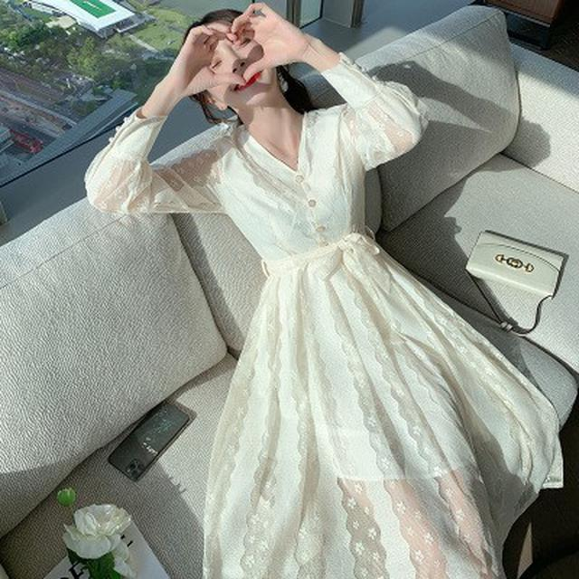 S✿優質歐韓女裝SCA1078韓版專櫃 法式名媛氣質蕾絲連衣裙
