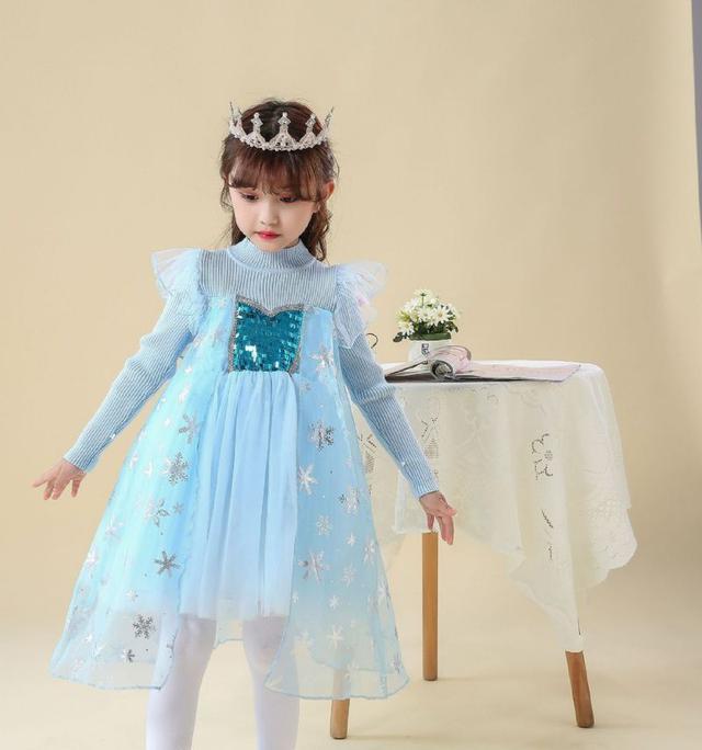 冰雪藍亮片網紗 針織拼接洋裝 公主童裝裙~變身冰雪奇緣小公主 童裝19秋冬新款