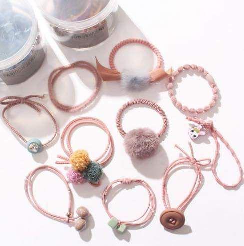 (預購S) 韓國冬季毛茸茸髮繩10件組收納盒裝