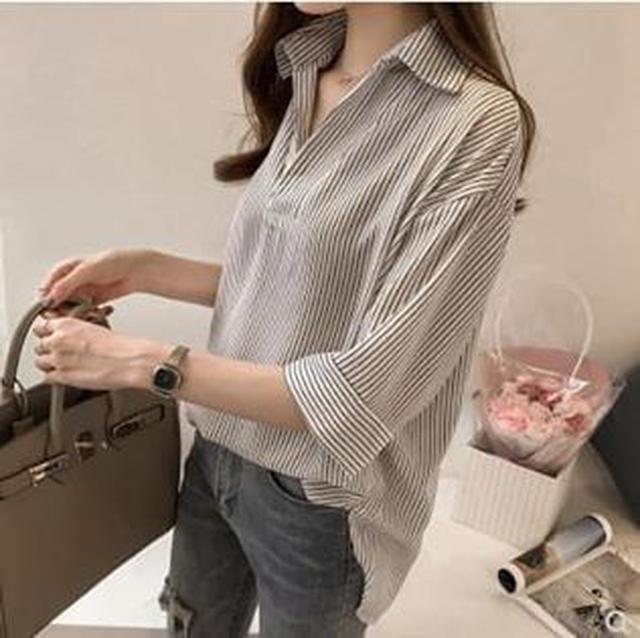 韓版條紋七分袖雪紡襯衫