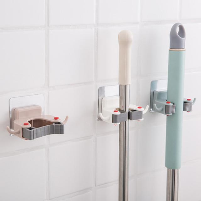 北歐風浴室墻壁拖把掛架 免釘壁無痕貼雙側含掛勾拖把掃把架 拖把夾