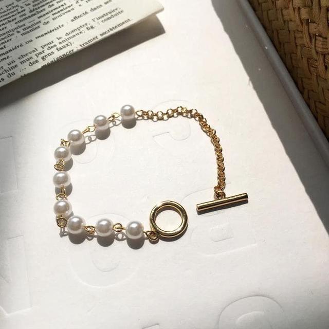 氣質韻味簡約不對稱珍珠金屬鏈條式手鍊手環