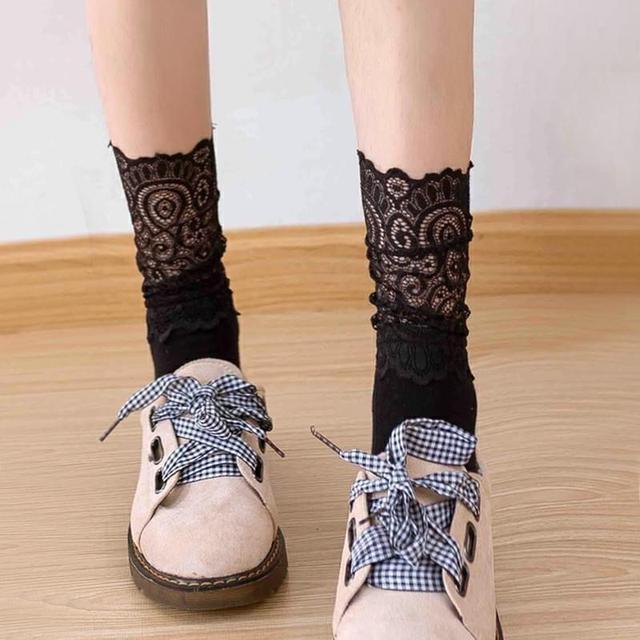 PG女生蕾絲堆堆襪/2雙