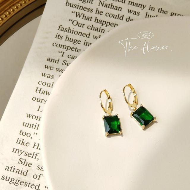 [祖母綠]高級感鋯石方形幾何耳圈女復古優雅鋯石耳扣質感耳環新款