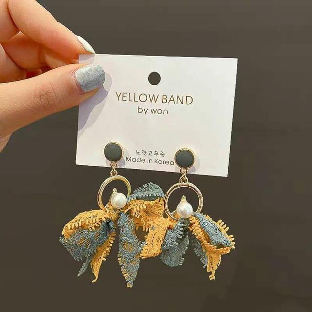 銀針布藝耳環